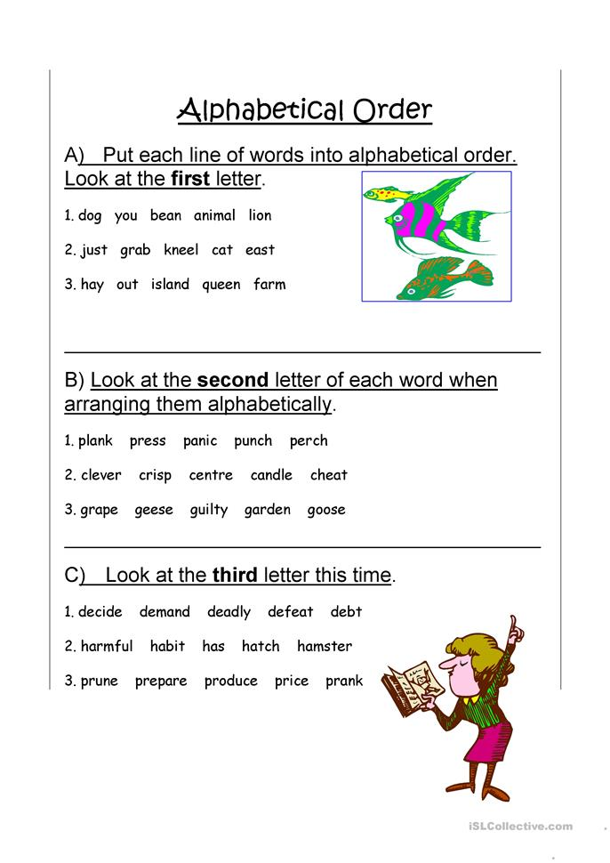 11 FREE ESL alphabetical order worksheets