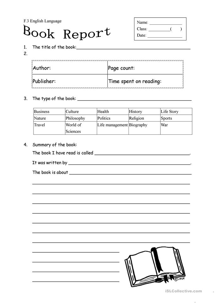 Printables Book Report Worksheet 25 free esl book report worksheets form for non fiction