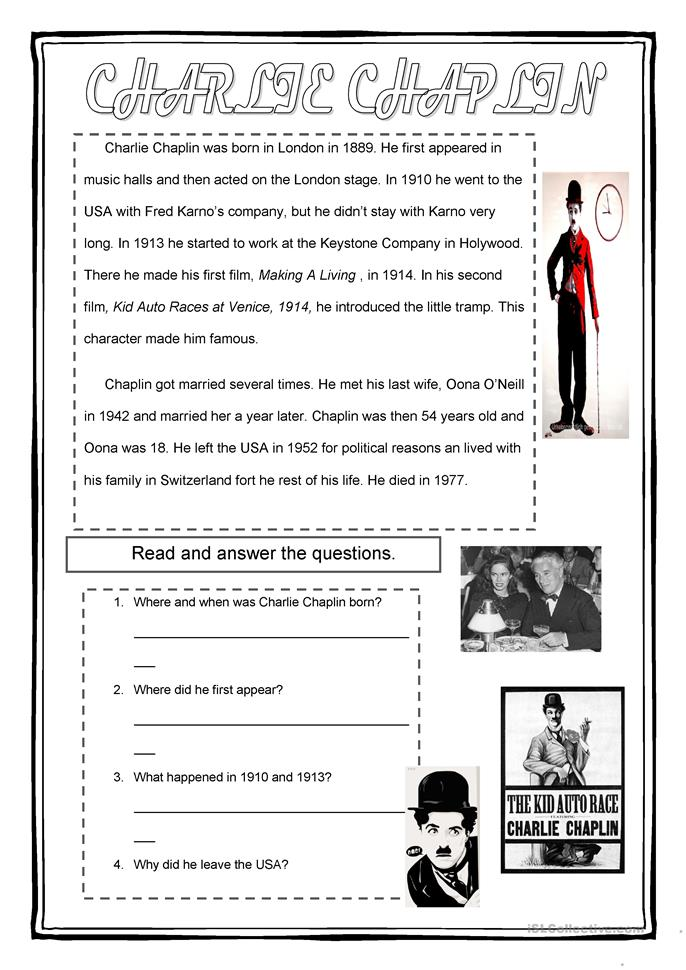 Charlie Chaplin - ESL worksheets