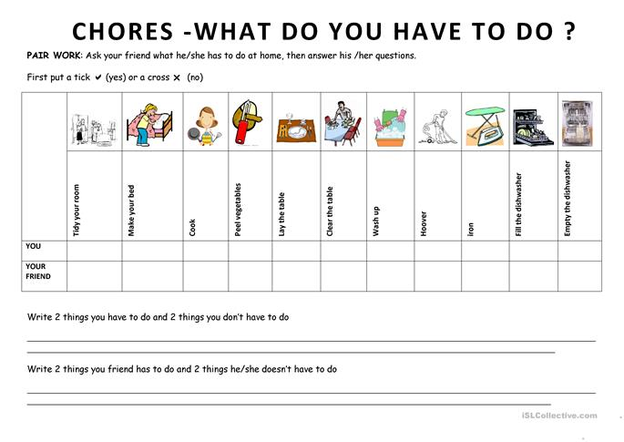 Chores 6 What do you have to do?  - ESL worksheets