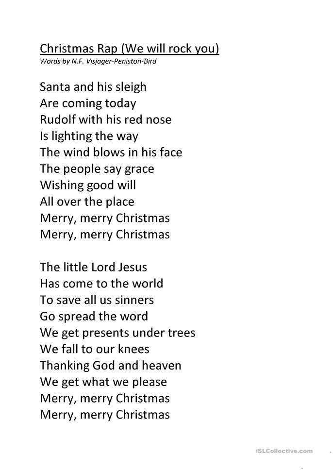 Christmas Rap Worksheet Free Esl Printable Worksheets
