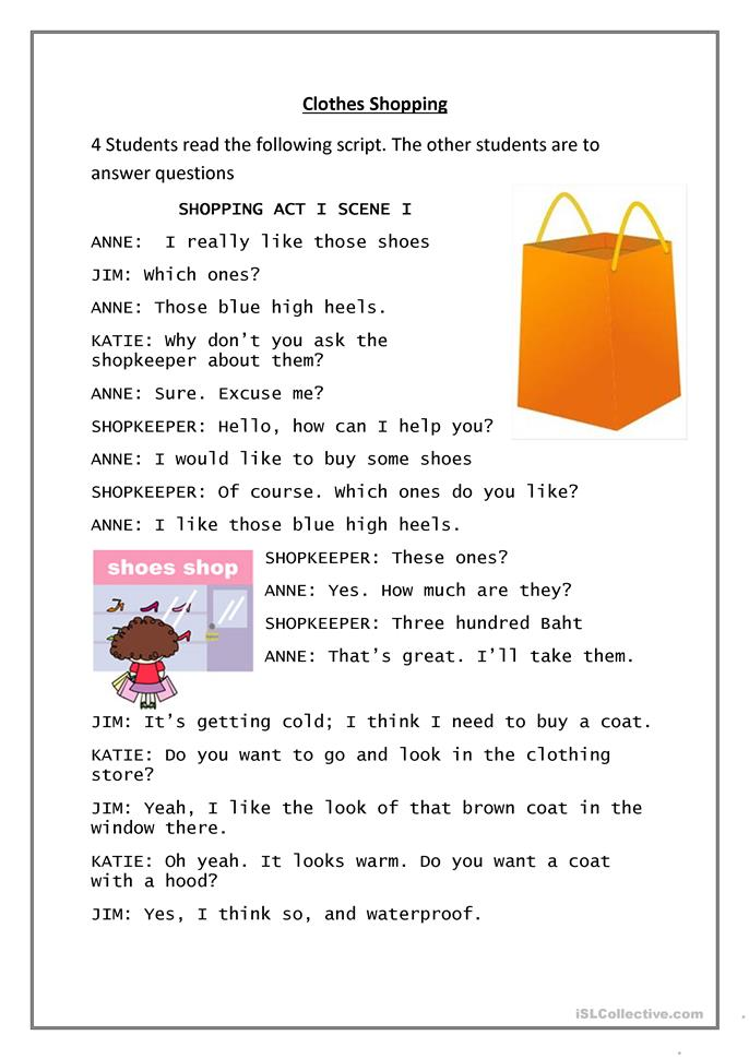 Clothes Shopping - ESL worksheets