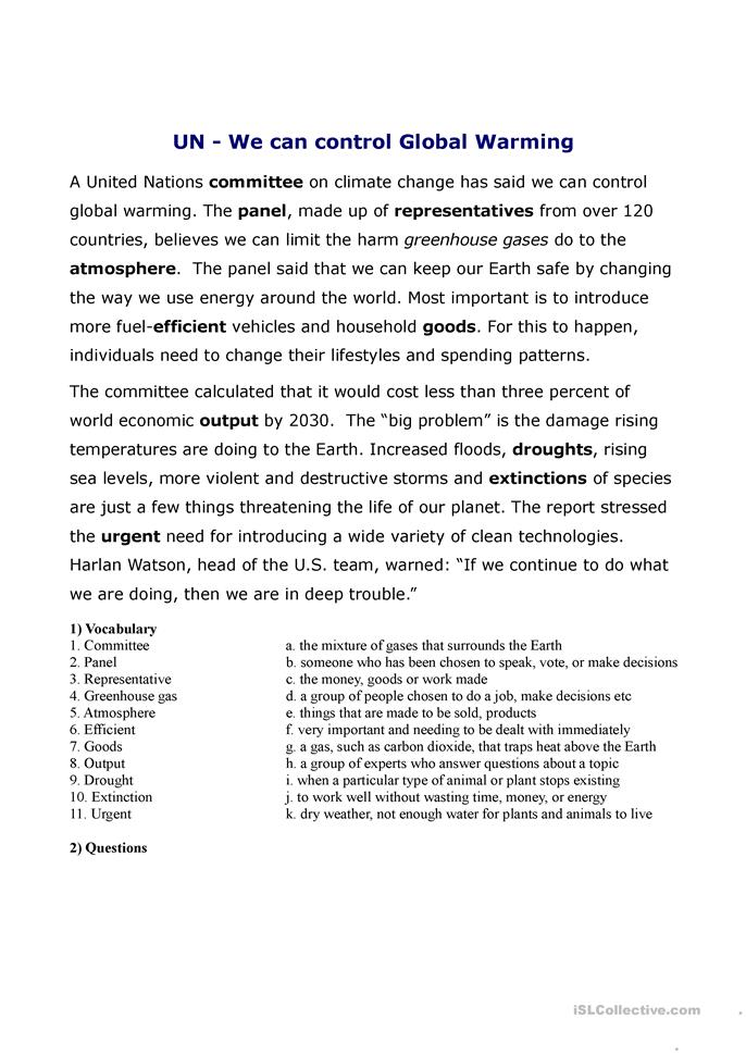 conversation lesson on global warming and environmental problems  - ESL worksheets