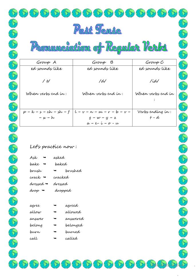 - ed pronunciation in ... - ESL worksheets