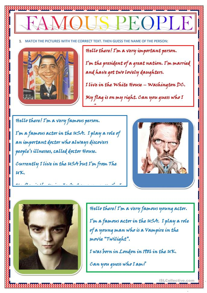 FAMOUS PEOPLE - ESL powerpoints