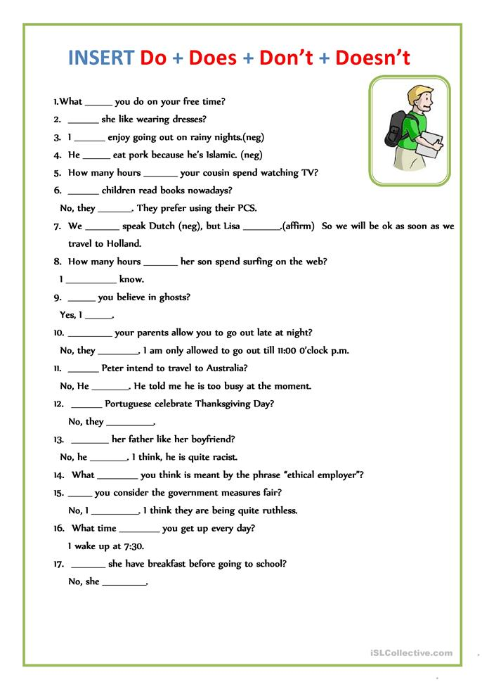 INSERT Do + Does + Don't + Doesn't - ESL worksheets