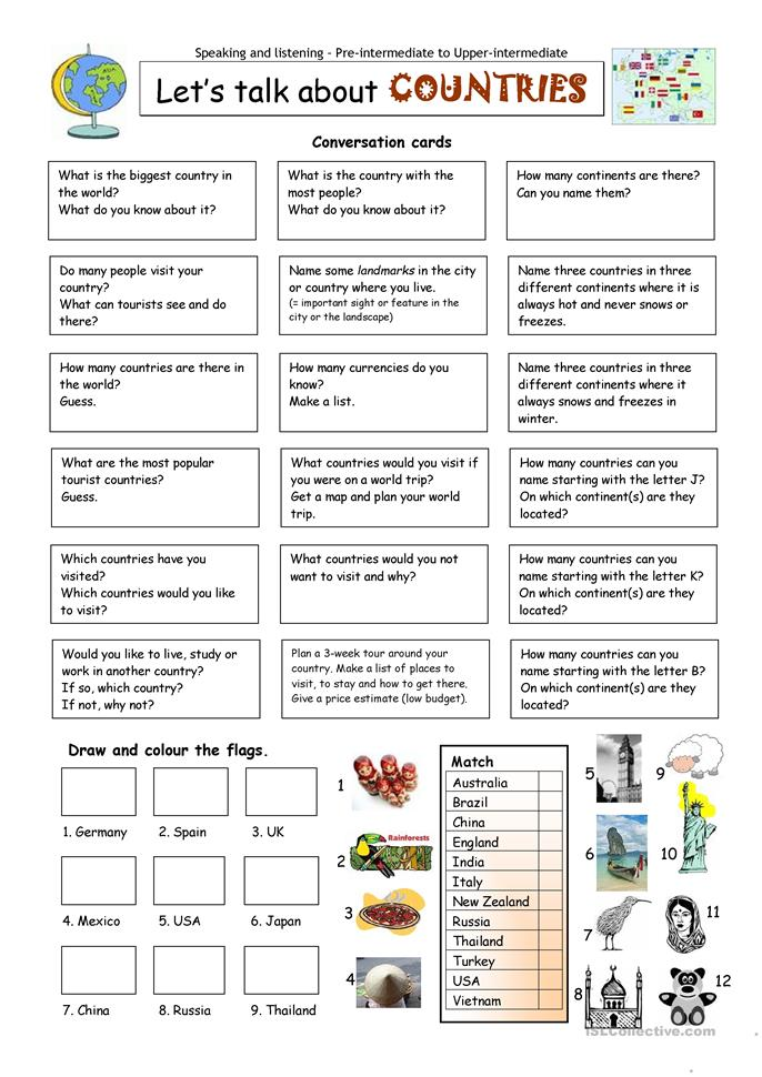 Let´s talk about COUNTRIES - ESL worksheets
