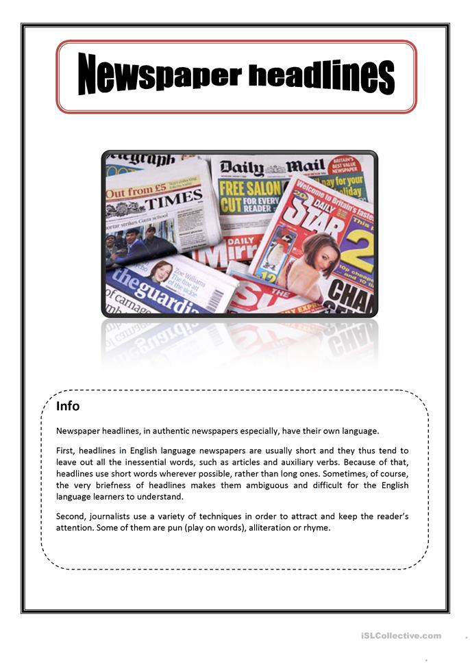 Parts of a newspaper article worksheet