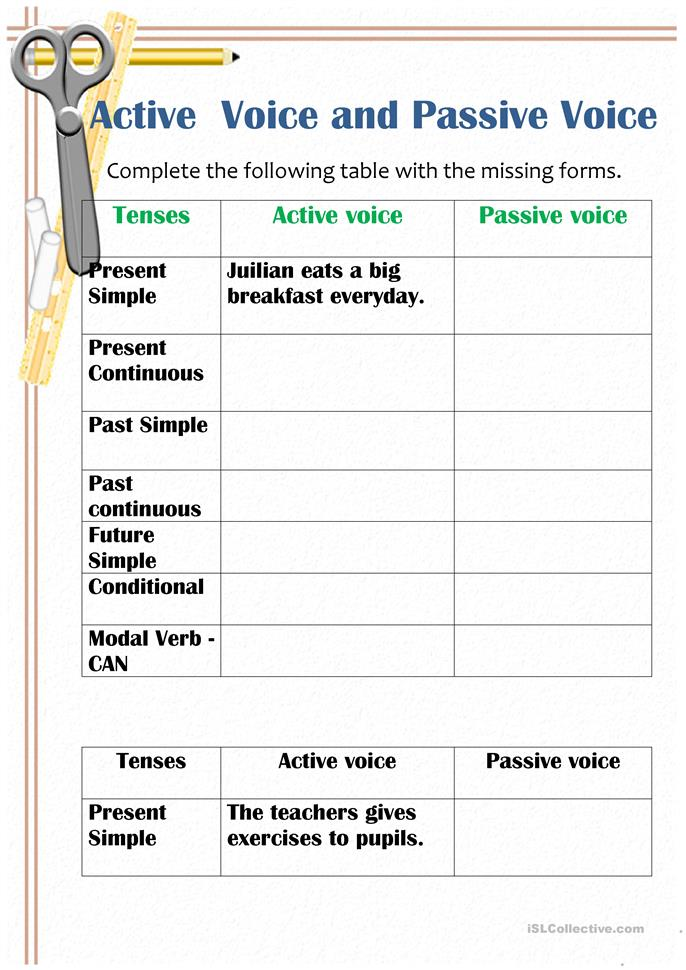 passive and active voices worksheet free esl printable worksheets made by teachers. Black Bedroom Furniture Sets. Home Design Ideas
