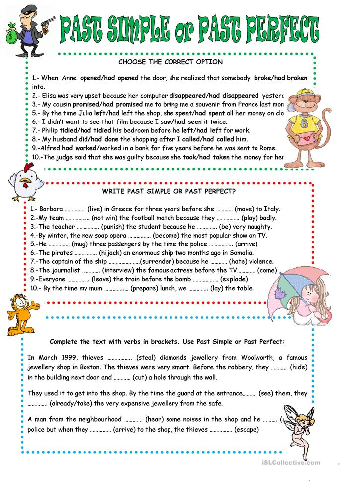 PAST PERFECT OR PAST S... - ESL worksheets