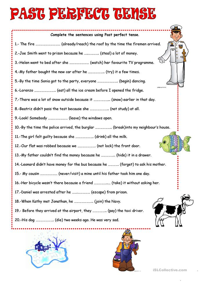 120 FREE ESL past perfect worksheets