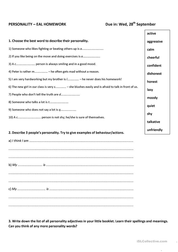 personality worksheet In each column, check off all the words that describe you you will probably check words in more than one column after you have finished going through all the words, add up how many checks you've made in each column, and place the total at the bottom of each column.