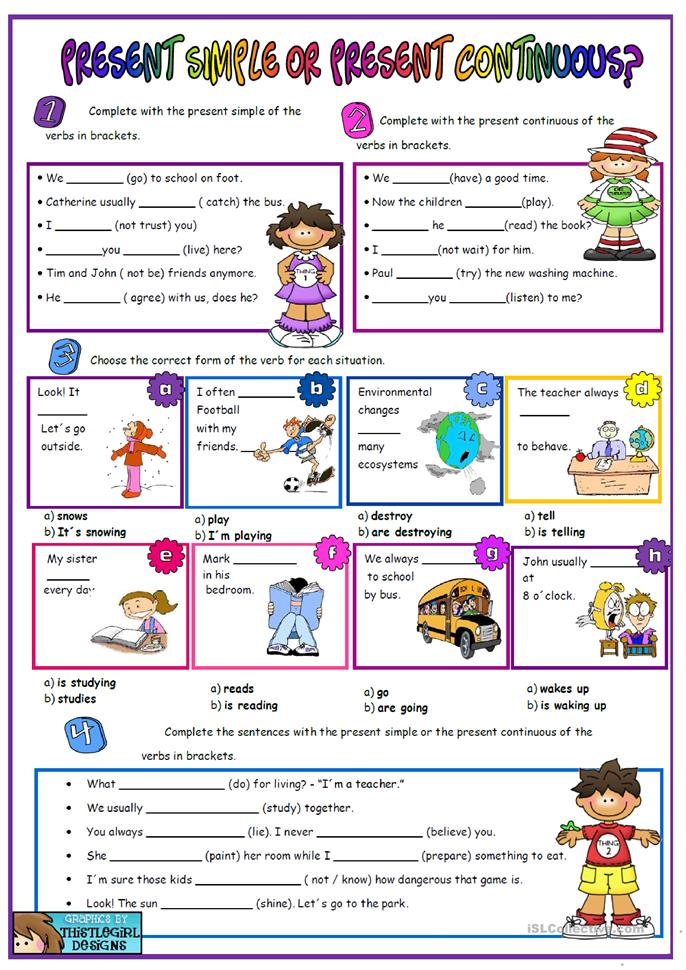 79 FREE ESL present simple vs present continuous worksheets