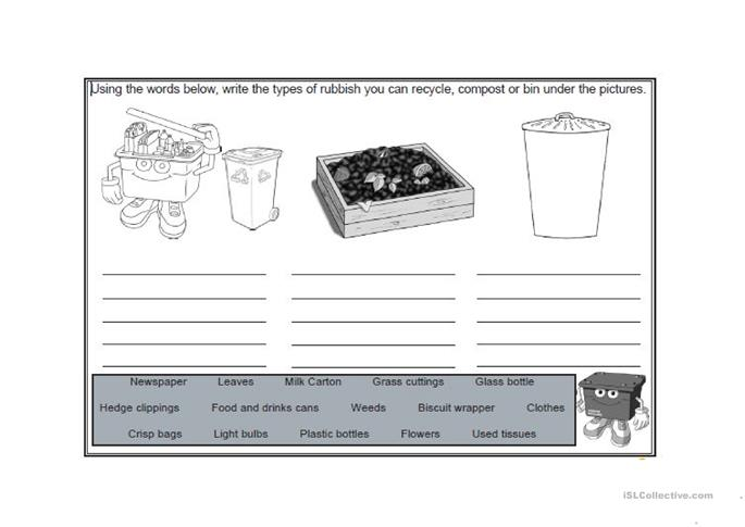 22 FREE ESL recycling worksheets