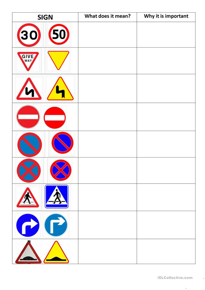 Worksheet Traffic Signs Worksheets 7 free esl road signs worksheets signs