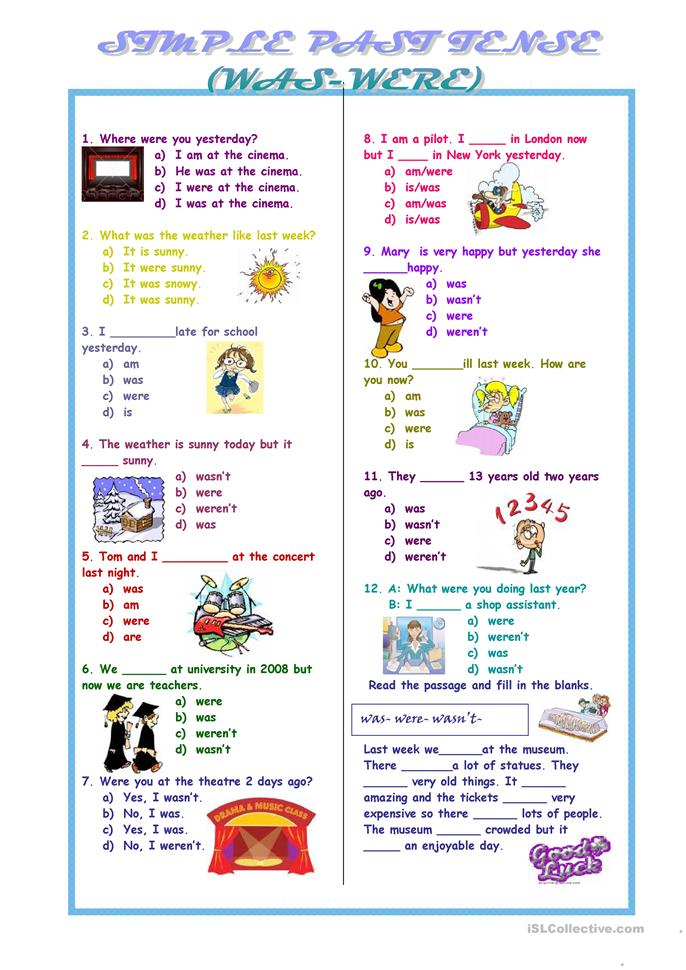 Sımple Past Tense was were - ESL worksheets