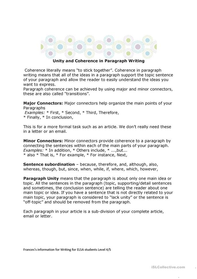 Unity and Coherence in Paragraph Writ... - ESL worksheets