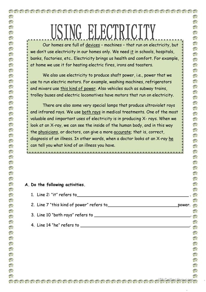 Using Electricity - ESL worksheets