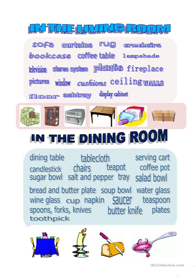 Vocabulary the living room worksheet free esl printable for Living room vocabulary
