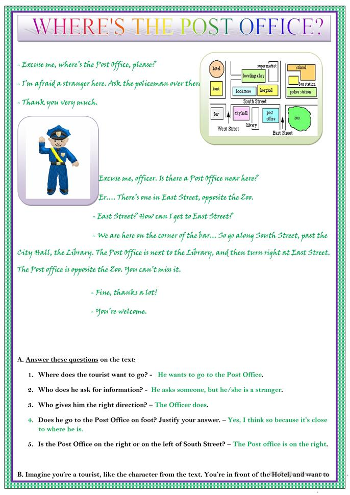 Worksheets Office Worksheets 57 free esl office worksheets where is the post office
