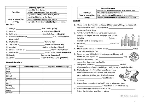 Comparison With Adjectives And Nouns Worksheet Free Esl