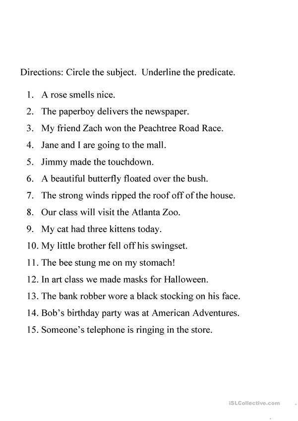 Identifying Subject And Predicate Worksheet - English ESL Worksheets For  Distance Learning And Physical Classrooms