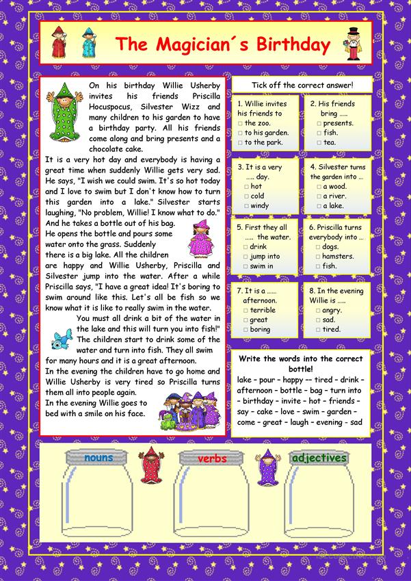 the magician s birthday key worksheet free esl printable worksheets made by teachers. Black Bedroom Furniture Sets. Home Design Ideas