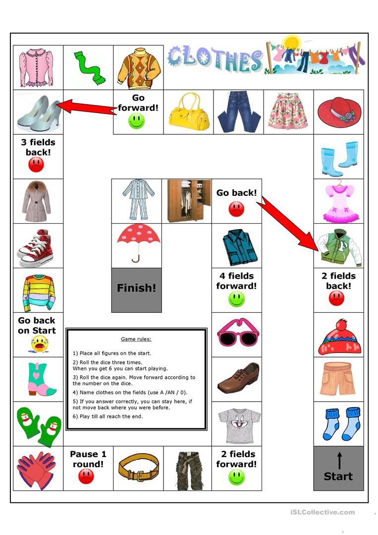 Clothes board game - English ESL Worksheets for distance learning and  physical classrooms