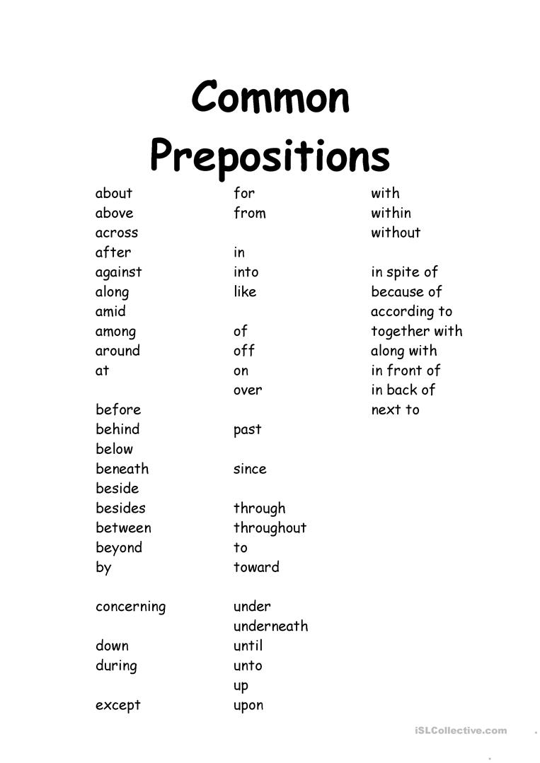 image about Printable List of Prepositions titled Well known Prepositions - English ESL Worksheets