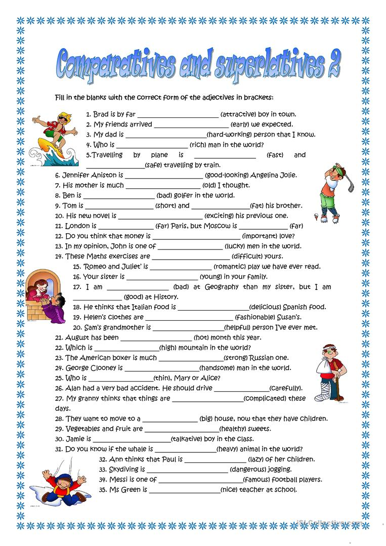 95 Free Esl Comparatives And Superlatives Worksheets
