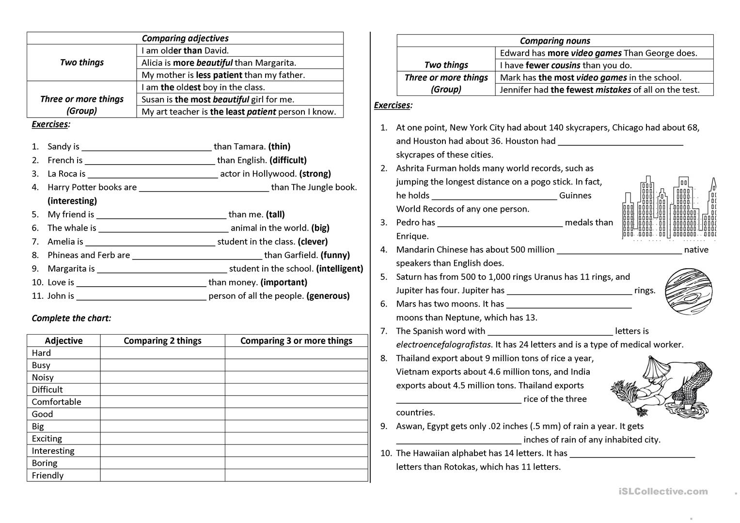 Comparison with adjectives and nouns - English ESL Worksheets