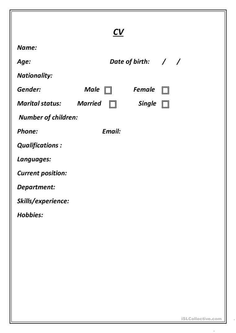 cv form worksheet