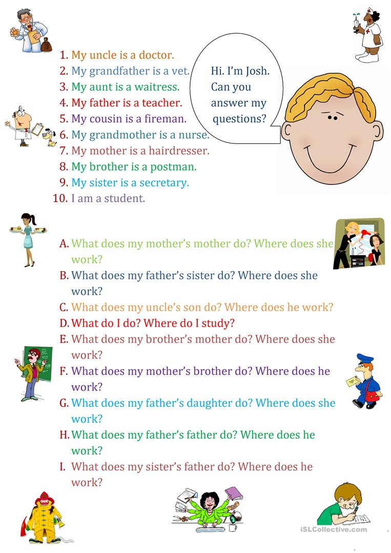Family Jobs - English ESL Worksheets