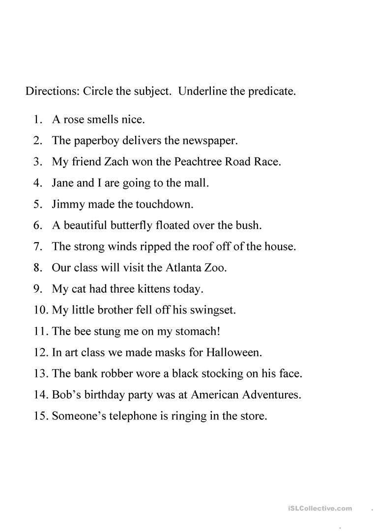 Identifying subject and predicate worksheet worksheet - Free ESL ...