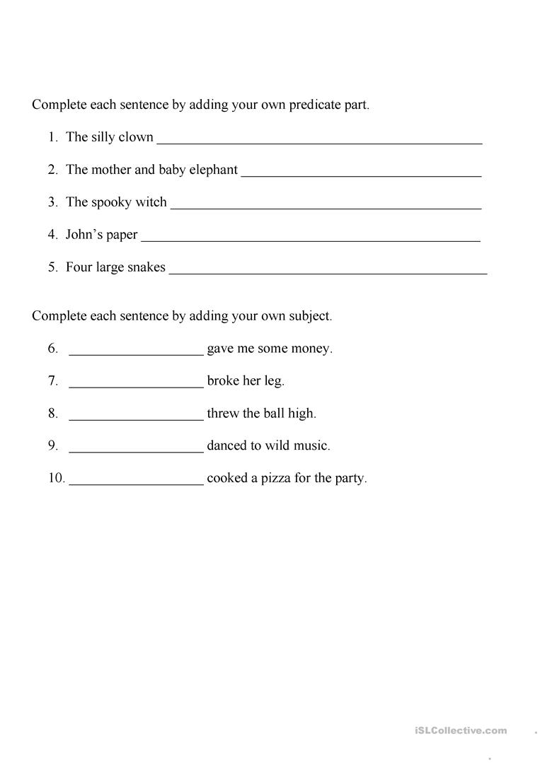 Worksheet Simple Predicate Worksheets Worksheet Fun Worksheet