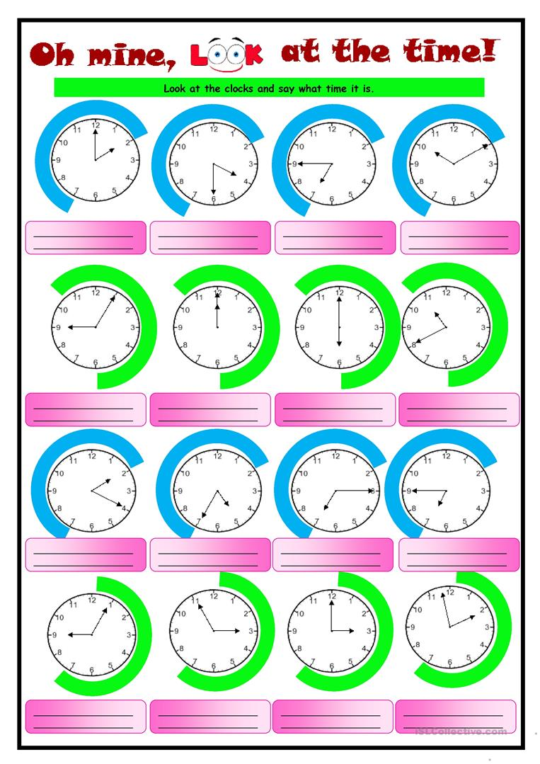 37 FREE ESL clocks worksheets