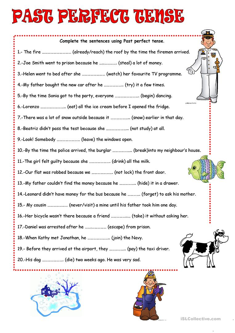 Uncategorized Past Tense Worksheets past perfect tense worksheet free esl printable worksheets made full screen