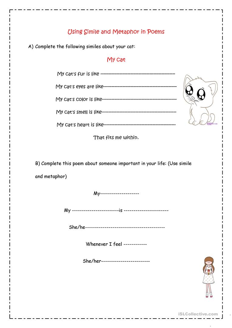 worksheet Simile And Metaphor Worksheets simile metaphor poems worksheet free esl printable worksheets full screen