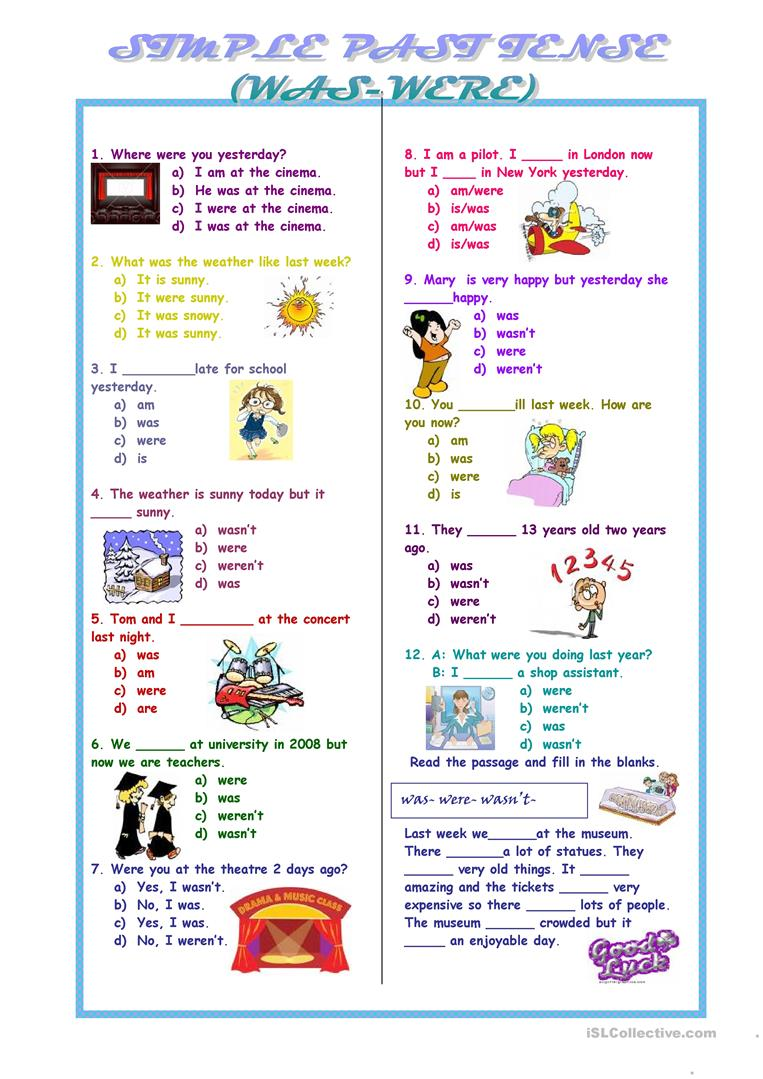 worksheet Were And Where Worksheets 214 free esl were worksheets past tense was were