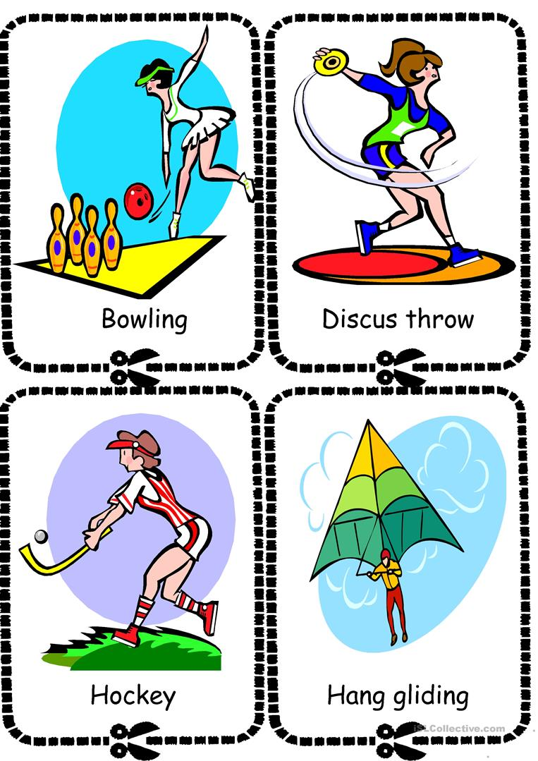 flashcard sports matching worksheet for preschoolers