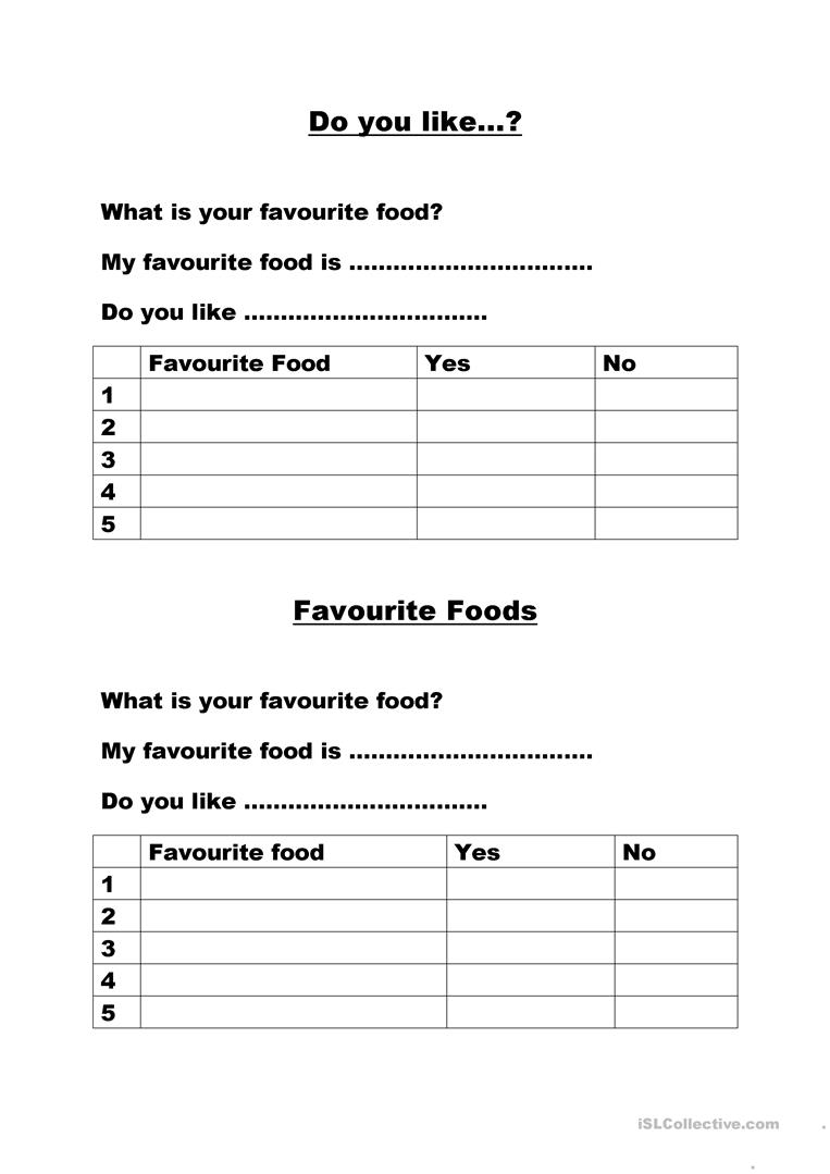 What Is Your Favourite Food Worksheet Free Esl Printable