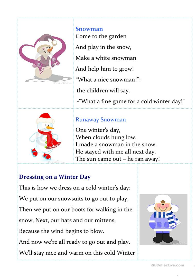 image relating to Chubby Little Snowman Poem Printable referred to as Printable wintertime poems