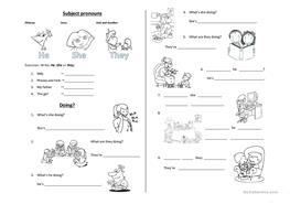 10 FREE ESL he she it they worksheets