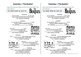 65 free esl the beatles worksheets. Black Bedroom Furniture Sets. Home Design Ideas