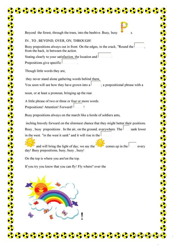 Busy prepositions - English ESL Worksheets