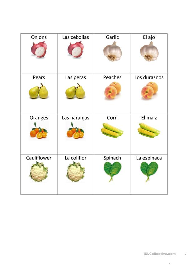 Fruit and Vegetable Memory Match