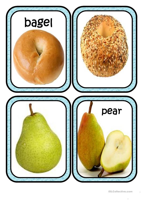 new food flashcards