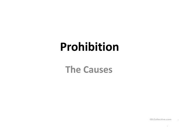 Prohibition in the USA