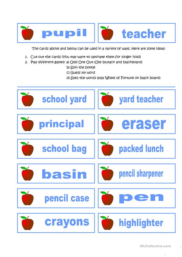 School Stuff (Timetables + Cards for Labeling and other activities)
