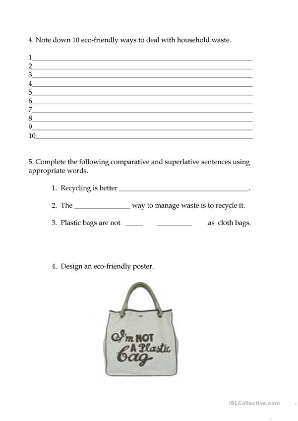 Song worksheet and Household Waste Management Lesson Plan: Down By The River (Revised)